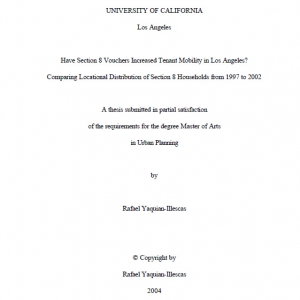 residential mobility thesis A thesis submitted to the department of public health sciences  mobility  limitations in seniors, and explore if these effects vary by gender methods: this  study.