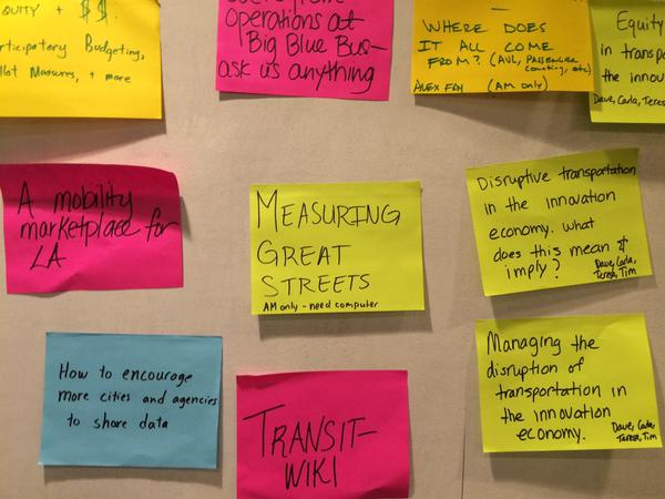 Attendees proposed sessions on very colorful post-its.